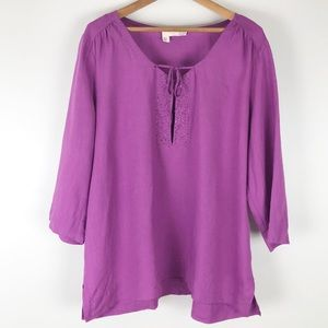 Eileen Fisher linen beaded top purple